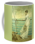 Lady On The Deck Of A Ship  Coffee Mug
