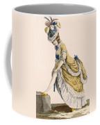 Lady Pulling Up Her Stocking, Engraved Coffee Mug