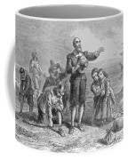 Landing Of The Pilgrims, 1620, Engraved By A. Bollett, From Harpers Monthly, 1857 Engraving B&w Coffee Mug