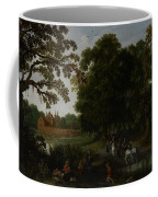 Landscape With A Courtly Procession Before Abtspoel Castle Coffee Mug by Esaias I van de Velde