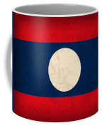 Laos Flag Vintage Distressed Finish Coffee Mug