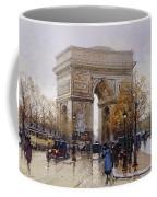L'arc De Triomphe Paris Coffee Mug by Eugene Galien-Laloue
