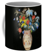 Large Bouquet On A Black Background Coffee Mug by Odilon Redon
