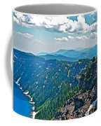 Layers Of Mountains From Watchman Overlook In Crater Lake National Park-oregon  Coffee Mug