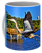 Leaping Egret Coffee Mug