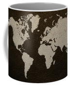 Leather Texture Map Of The World Coffee Mug