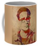 Leonard Hofstadter Watercolor Portrait Big Bang Theory On Distressed Worn Canvas Coffee Mug