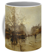 Les Boulevards Paris Coffee Mug by Eugene Galien-Laloue