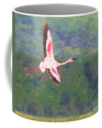 Lesser Flamingo Phoenicopterus Minor Flying Coffee Mug