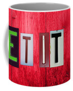 Let It Be License Plate Letter Vintage Phrase Word Artwork On Red Wood Coffee Mug