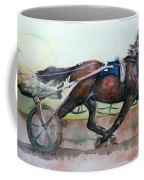 Racehorse Painting In Watercolor Let's Roll Coffee Mug