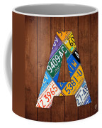 Letter A Alphabet Vintage License Plate Art Coffee Mug by Design Turnpike