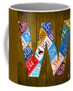 Letter W Alphabet Vintage License Plate Art Coffee Mug