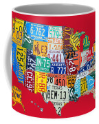 License Plate Map Of The United States On Bright Red Coffee Mug