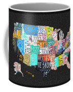 License Plate Map Of The United States On Gray Felt With Black Box Frame Edition 14 Coffee Mug