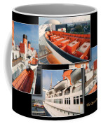 Life Boats Collage Queen Mary Ocean Liner Long Beach Ca Coffee Mug