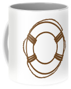 Life Preserver In Brown And White Coffee Mug