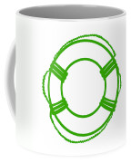 Life Preserver In Green And White Coffee Mug