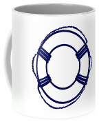 Life Preserver In Navy Blue And White Coffee Mug