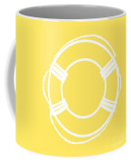 Life Preserver In White And Yellow Coffee Mug