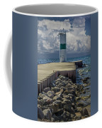 Lighthead At The End Of The Pier In Pentwater Michigan Coffee Mug