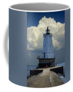 Lighthouse At The End Of The Pier In Ludington Michigan Coffee Mug
