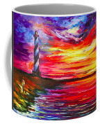 Lighthouse - Palette Knife Oil Painting On Canvas By Leonid Afremov Coffee Mug