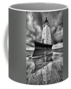 Lighthouse Reflection Black And White Coffee Mug
