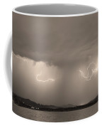 Lightning And Sepia Rain Over Rocky Mountain Foothills Coffee Mug by James BO  Insogna