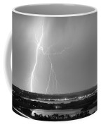 Lightning Strike Boulder Reservoir And Coot Lake Bw Coffee Mug by James BO  Insogna