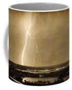 Lightning Strike Boulder Reservoir And Coot Lake Sepia 2 Coffee Mug by James BO  Insogna
