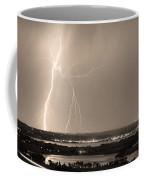 Lightning Strike Boulder Reservoir And Coot Lake Sepia Coffee Mug by James BO  Insogna