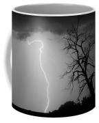 Lightning Tree Silhouette Black And White Coffee Mug
