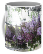 Lilacs Hanging Basket Window Reflection - Dreamy Lilacs Floral Art Coffee Mug