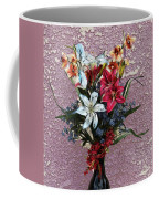 Lilies And Orchids Digitized Purple Coffee Mug