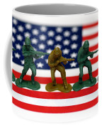 Line Of Toy Soldiers On American Flag Shallow Depth Of Field Coffee Mug by Amy Cicconi