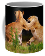 Lion Cubs Playing In The Grass Coffee Mug