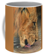 Lion Drinking Coffee Mug
