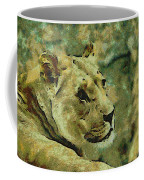 Lion Looking Back Coffee Mug