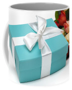 Little Blue Gift Box And Flowers Coffee Mug by Amy Cicconi