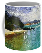 Little Cove Noosa Heads Abstract Palette Knife Seascape Painting Coffee Mug
