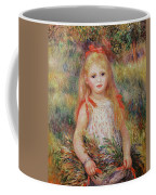 Little Girl Carrying Flowers Coffee Mug by Pierre Auguste Renoir