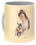 Little Girl Holding A Baby Goat Coffee Mug