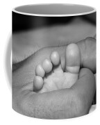 Tiny Infant Toes In Father's Big Hand Coffee Mug