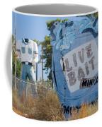 Live Bait Sign And Muffler Man Statue Coffee Mug