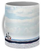 Loaded Oil Tanker On Ocean Under Stormy Sky Clouds Coffee Mug