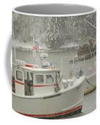 Snowy Lobster Boats Coffee Mug