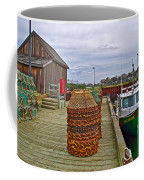 Lobster Fishing Baskets And Boats By A Dock In Forillon Np-qc Coffee Mug