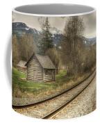 Log Cabin And Railroad Tracks Coffee Mug