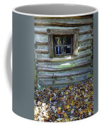 Log Cabin Window And Fall Leaves Coffee Mug